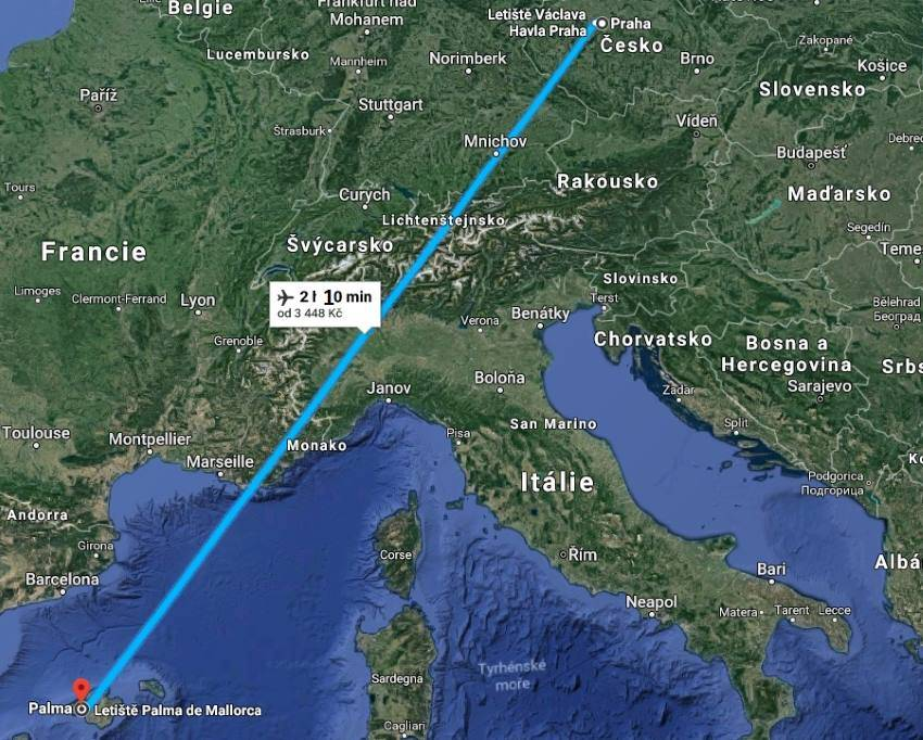 Doba letu Praha Mallorca
