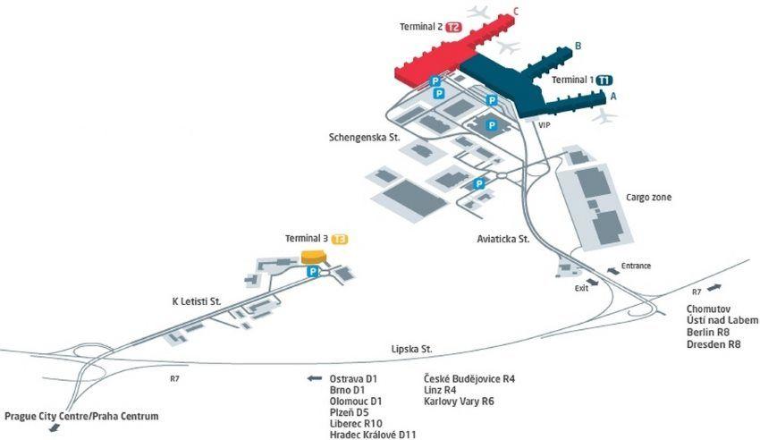 Mapa Letiště Praha kompletní