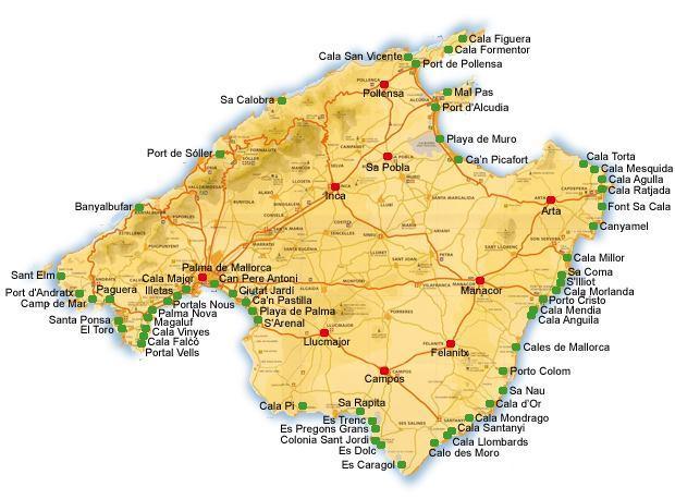 Mapa pláží na Mallorce