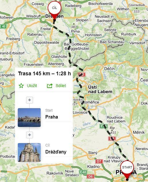 Cesta z Prahy na letiště Drážďany