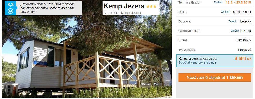 Kemp v Chorvatsku s odletem z Prahy