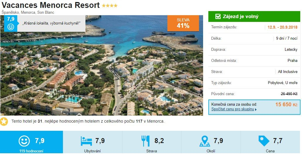 Menorca All Inclusive dovolená