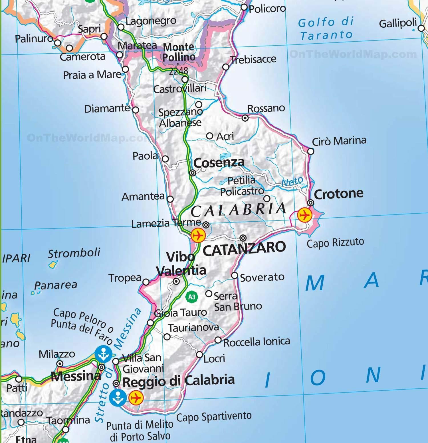 Mapa Kalabrie Italie Online I Ke Stazeni