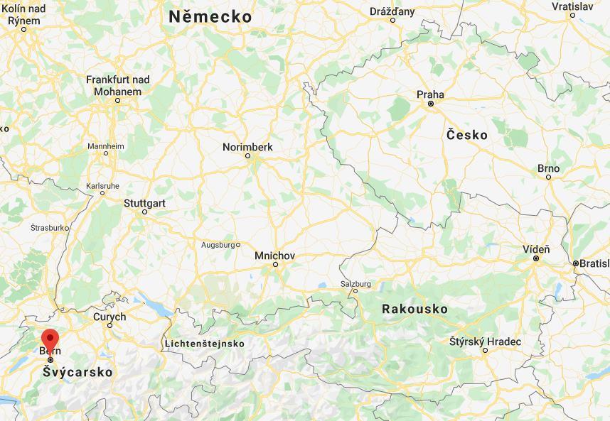 Kde na mapě leží město Bern ve Švýcarsku