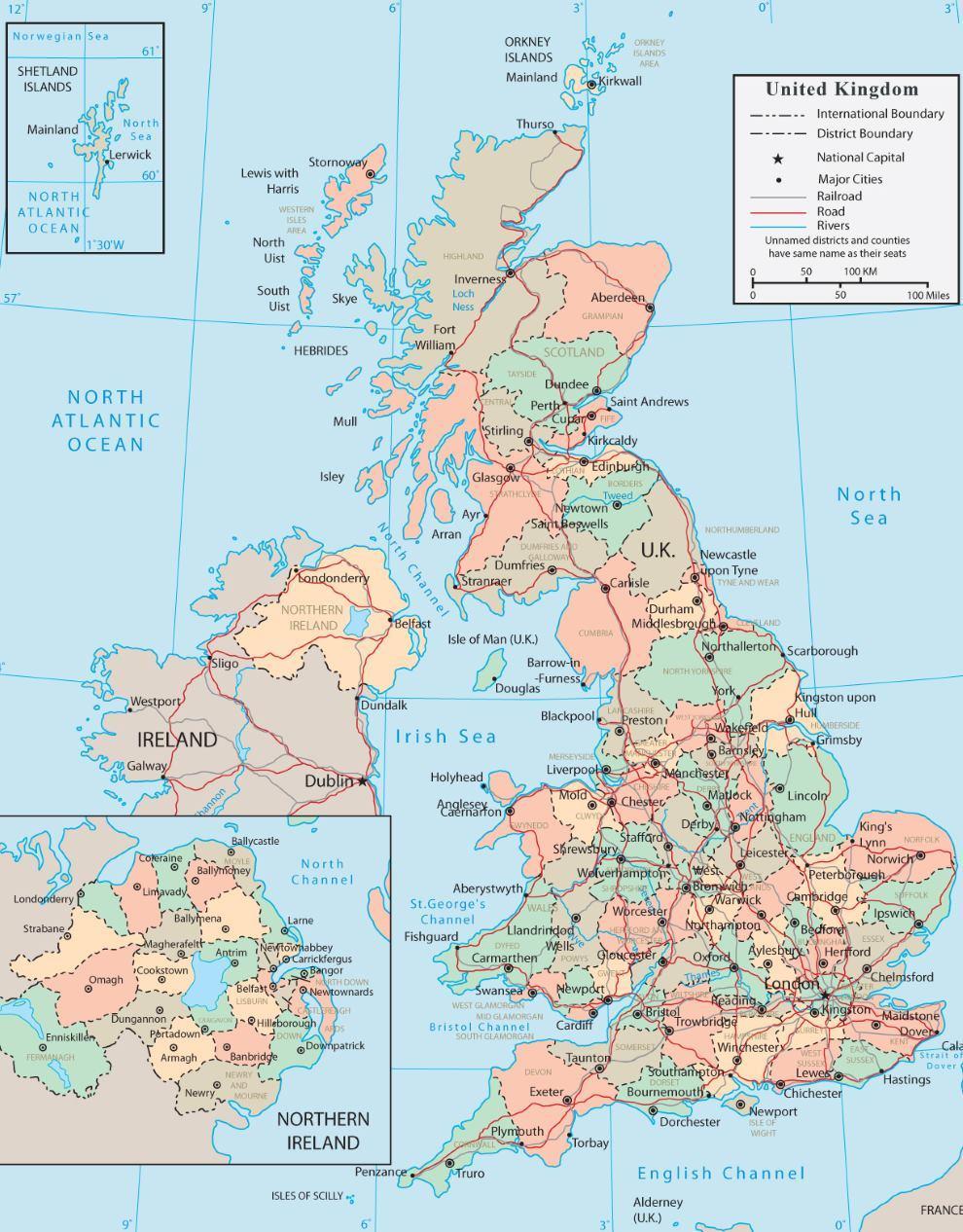 Mapa Anglie ke stažení