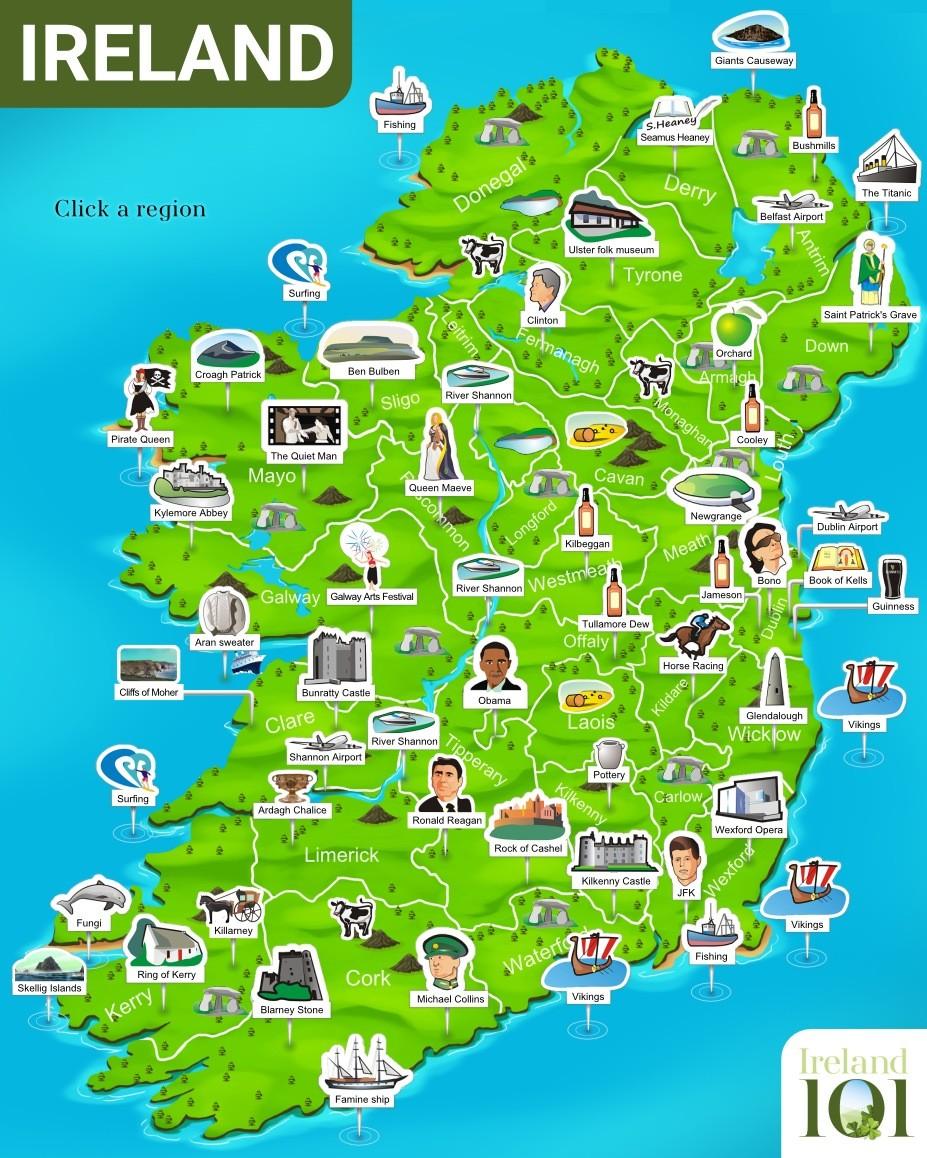 Irsko Mapa Ke Stazeni I Online Vcetne Severniho Irska