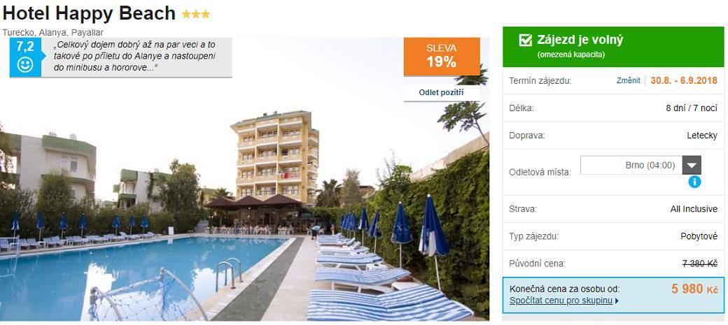 Turecko Alanya hotel happy Beach