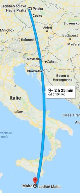 Doba a délka letu z Prahy na Maltu