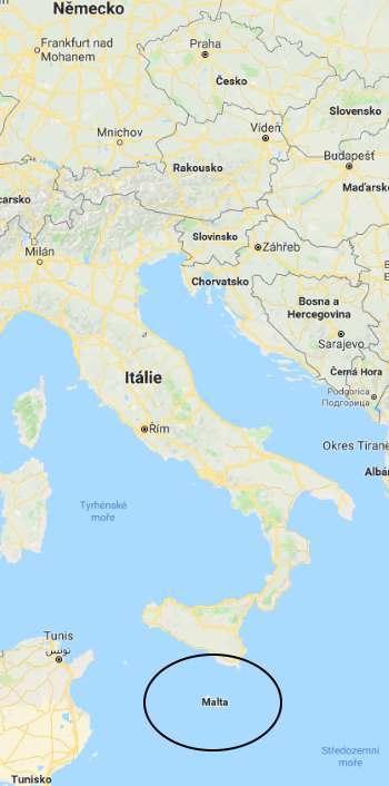 Kde leží ostrov Malta ve Středozemním moři