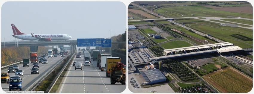 Letiště Lipsko letadla nad silnicí