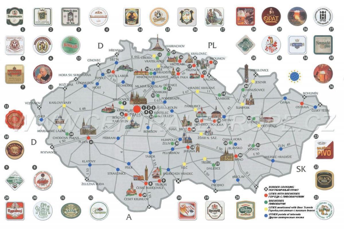 Turistická mapa po pivovarech ČR