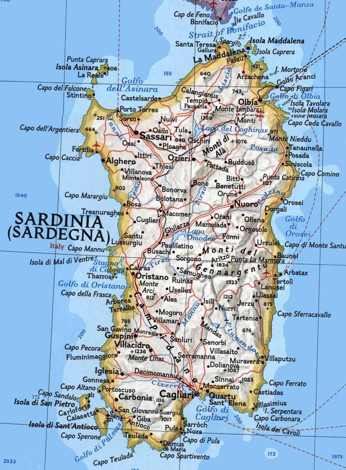 Sardinie Mapa Podrobna Turisticka Ke Stazeni Pdf