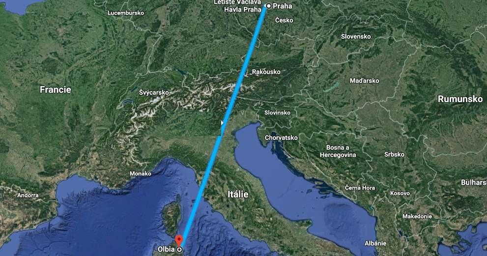 Doba a délka letu z Prahy na Sardinii
