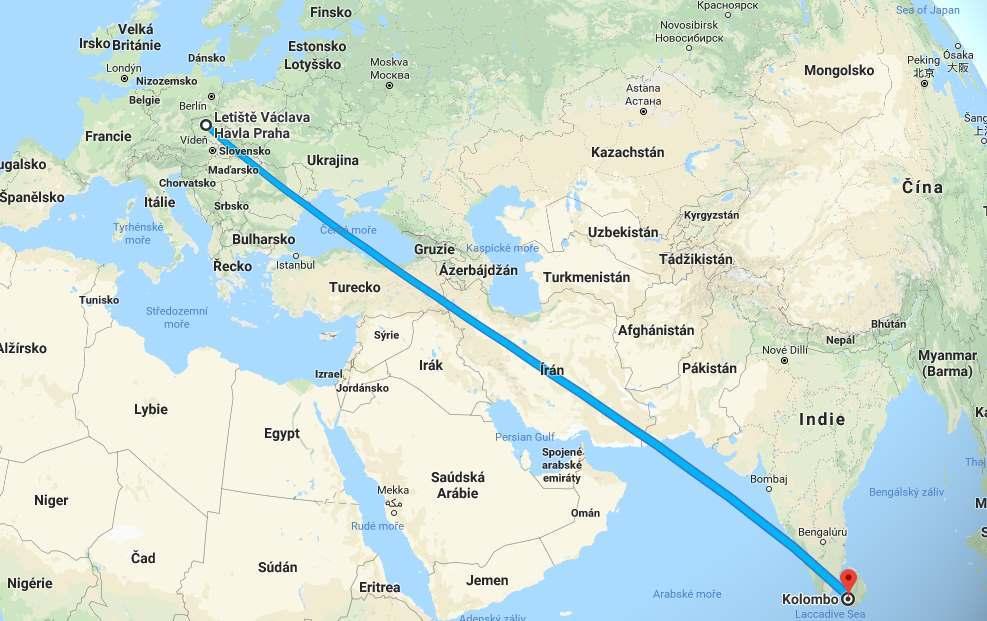 Doba a délka letu z Prahy na Sri Lanku