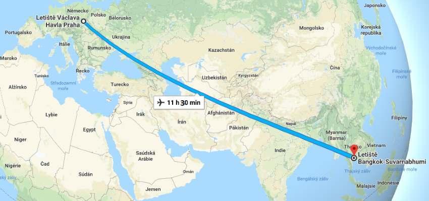 Doba letu do Thajska aneb jak dlouho trvá let