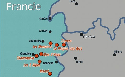 Lyžování ve Francii mapa areálů