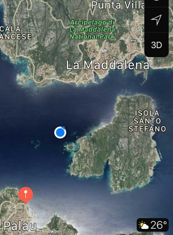 Má poloha na trajektu dle GPs na trajektu mezi Palau a La Maddalena