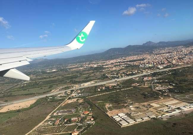 Město Olbia z letadla