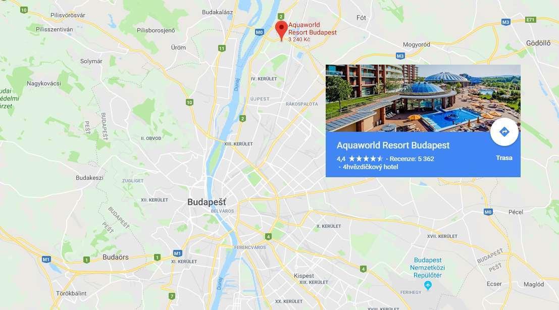 Poloha Aquaworld Budapešť na mapě