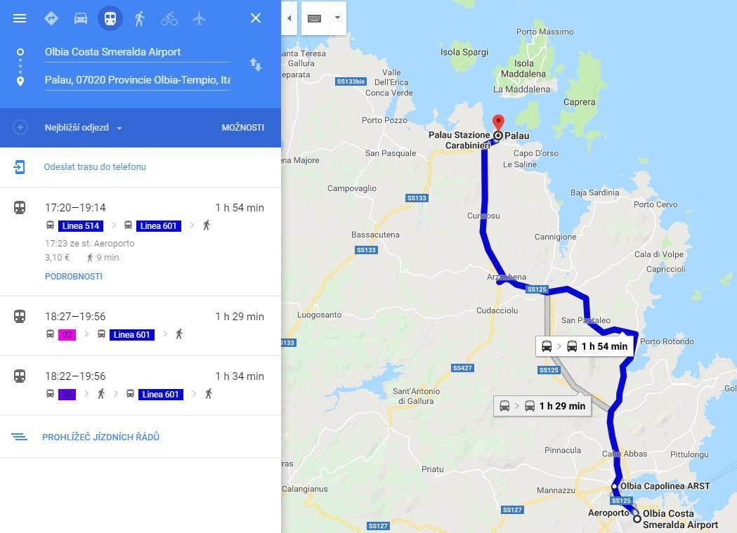 Vyhledání čísla autobusu včetně doby jízdy po Sardinii