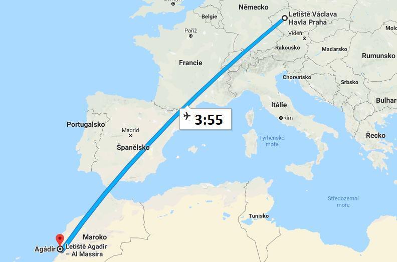 Doba letu Praha Maroko