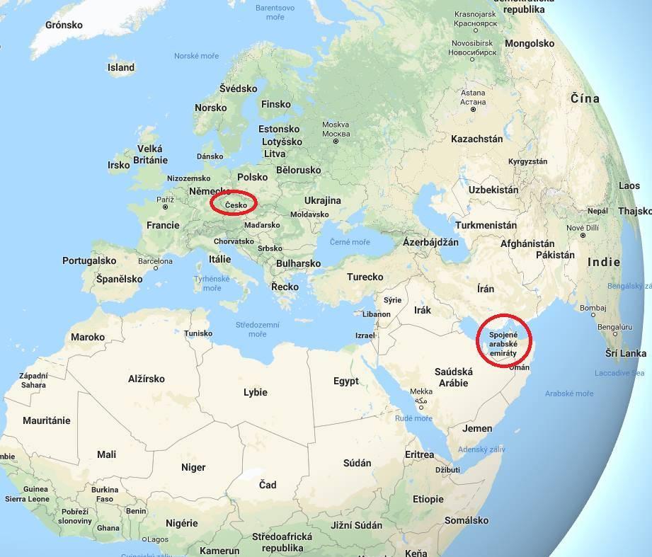 Kde leží Spojené arabské emiráty na mapě světa