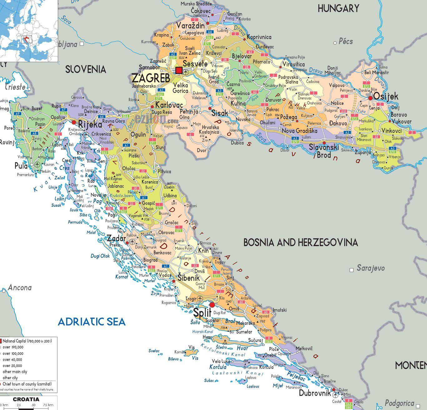 Chorvatsko Mapa Pobrezi Online Turisticka Mapa