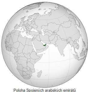 Poloha emirátů SAE na mapě