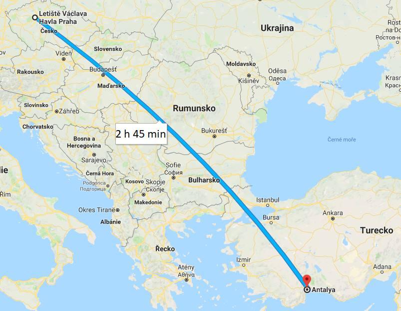 Doba a délka letu Praha Antalya