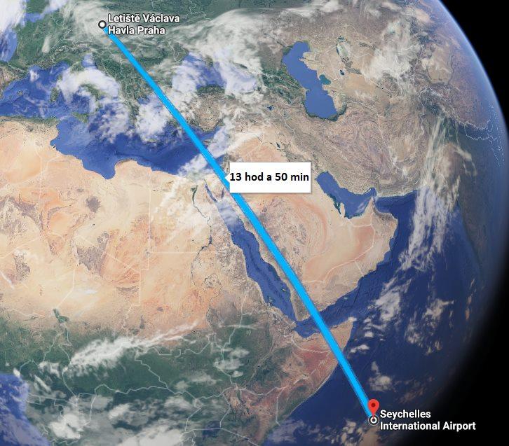 Doba a délka letu na Seychely