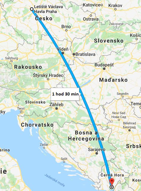 Doba a délka letu z Prahy do Černé Hory