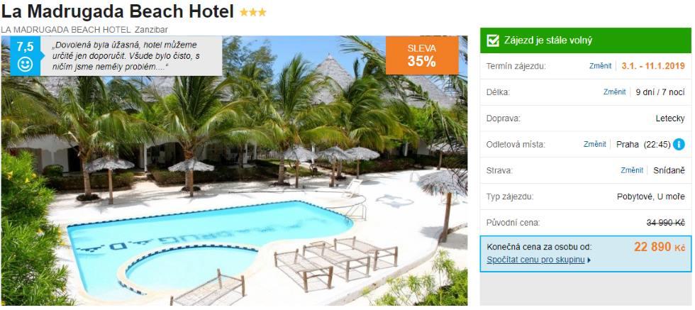 Nejlevnější hotel na Zanzibaru se snídaní akční zájezd