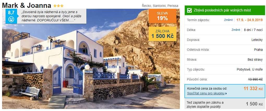 Akční zájezd s předstihem na Santorini