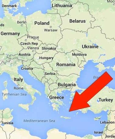 Kde leží Santorini na mapě Řecko