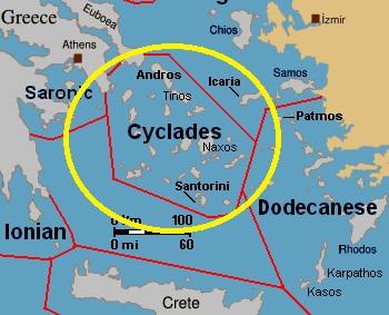 Kde v Řecku leží Kyklady na mapě