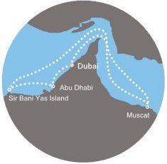 Mapa okružní plavby Spojené arabské emiráty a Omán