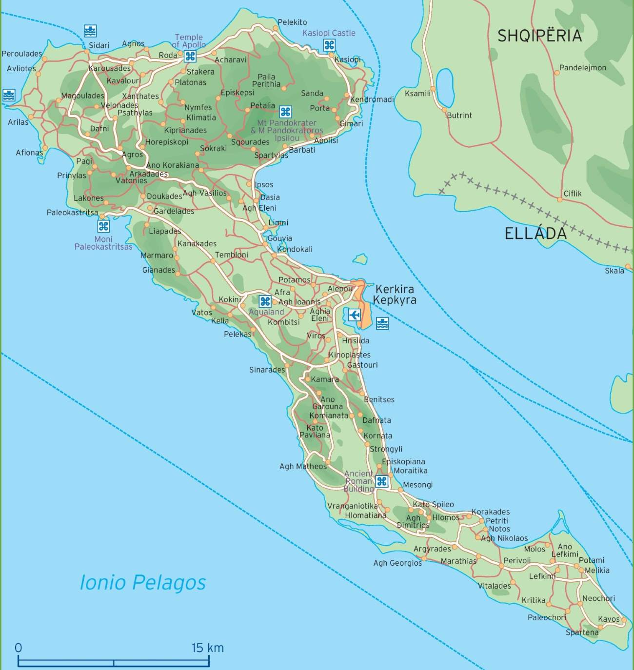 Mapa Korfu Recko Turisticka Mapa Ostrova Korfu