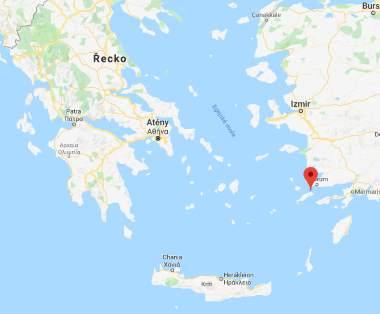 Poloha Kosu na mapě Řeckých ostrovů