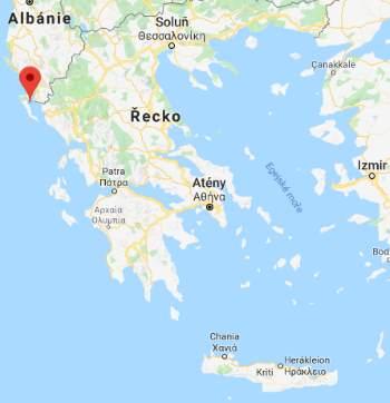 Poloha ostrova Korfu na mapě Řecka