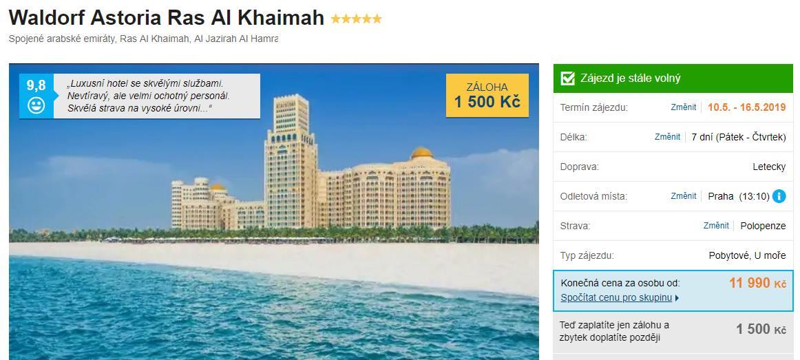 Spojené arabské emiráty luxusní a skvěle hodnocený hotel