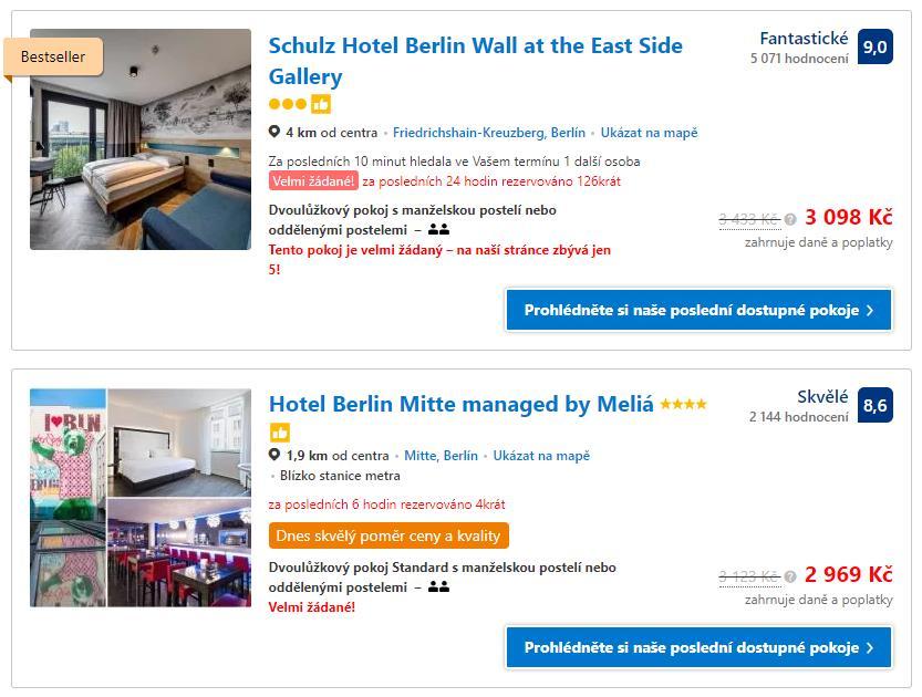 TOP 2 nejlepší hotely v centru Berlína dle srovnávače
