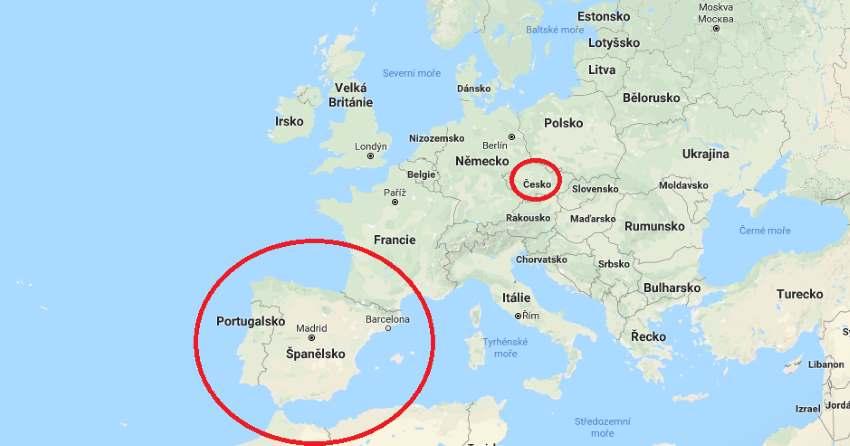Španělsko na mapě kde leží v Evropě