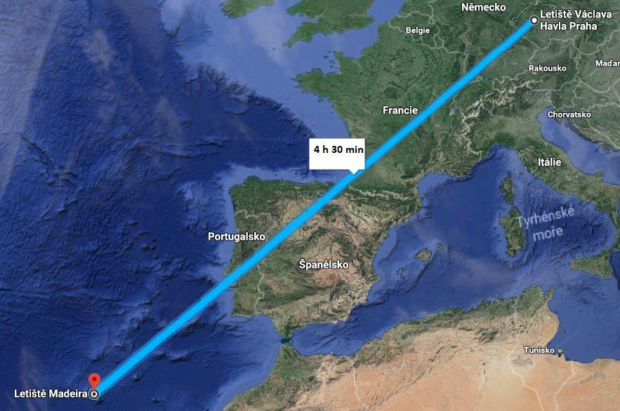 Doba letu trasa letu z Prahy na Madeiru