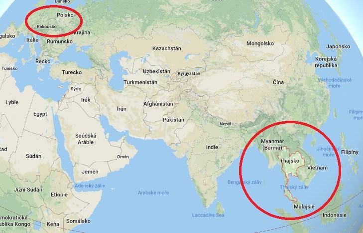 Kde leží Thajsko Mapa