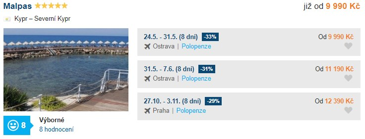 Kypr luxusní polopenze z Ostravy