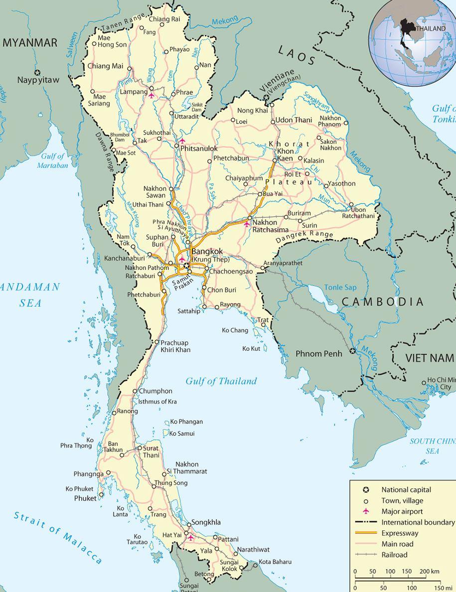 Thajsko Mapa Podrobna Turisticka Kde Lezi Na Mape