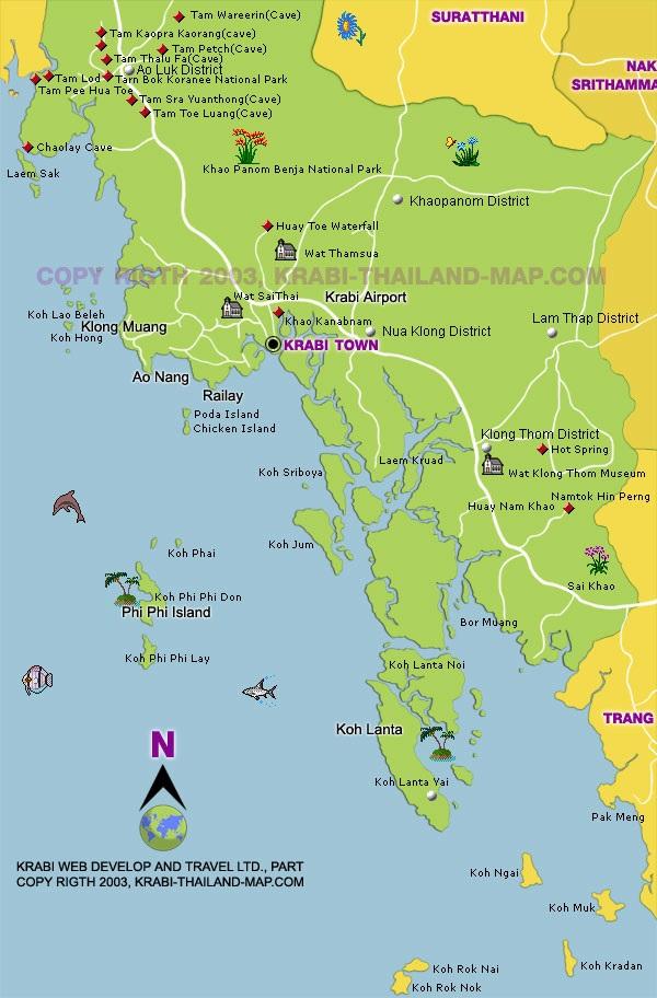 Krabi Mapa Ostrov Krabi Na Mape Kde Lezi