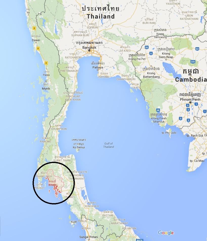 Poloha Krabi na mapě Thajska