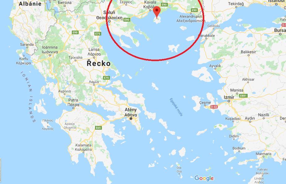 Poloha Thassosu na mapě Řeckých ostrovů, kde leží