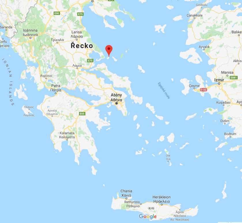 Poloha ostrova Skiathos v Řecku